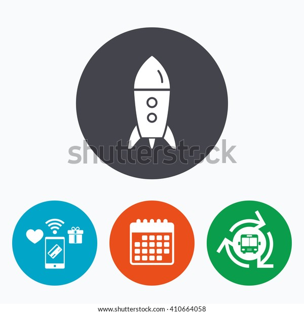 Start up icon. Startup business rocket sign. Mobile payments, calendar and wifi icons. Bus shuttle.