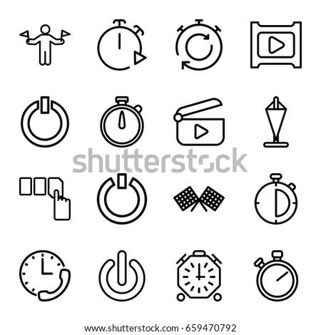 Start Icons Set Set 16 Start Stock Vector Royalty Free 659470792