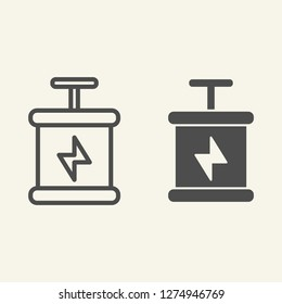 Start line and glyph icon. Launching vector illustration isolated on white. Triggering box outline style design, designed for web and app. Eps 10