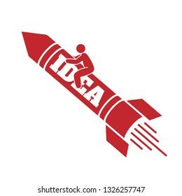 start up , man riding a rocket idea