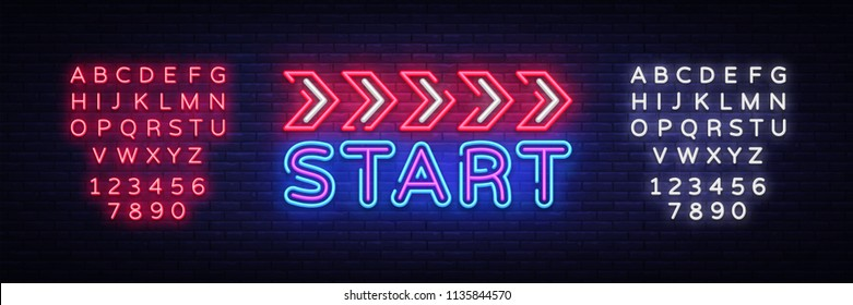 Start Neon sign vector design template. Start Race neon text, light banner design element colorful modern design trend, night bright advertising, bright sign. Vector. Editing text neon sign