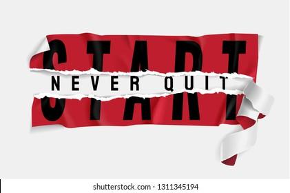 start never quit sticker ripped off illustration