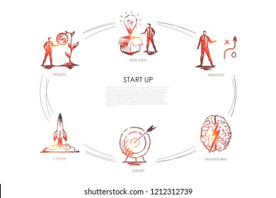 Start Up - new idea, strategy, results, career, target, brainstorm vector concept set. Hand drawn sketch isolated illustration