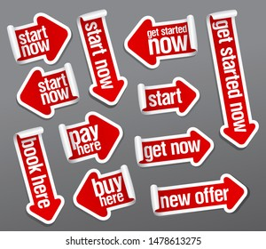 Start now, pay here, get started now, buy here, new offer, book here, get now - stickers set in form of arrows