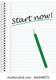 Start now, Ring Bond Writing Pad with green Pencil and Lines