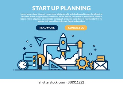 Start Up Planning Concept for web page. Vector illustration