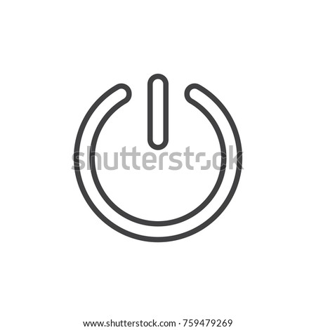 Start Power Button Line Icon Outline Stock Vector Royalty Free