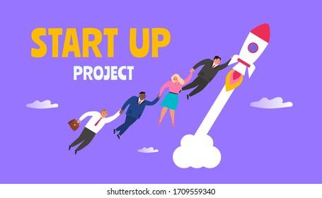 start up project business people flying  on rocket vector illustration
