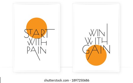 Start with rain, win with gain, vector. Motivational inspirational life quotes. Positive thought. Minimalist modern poster design. Two pieces poster. Scandinavian wall art design. Wall artwork
