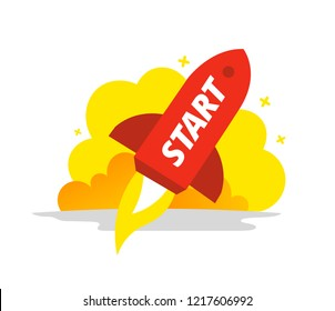 Start red rocket color illustration. The startup metaphor. Starting a business.