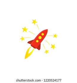 Start red rocket color illustration. The startup premium account. Starting a business.