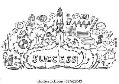 Start up rocket with business success doodle clouds.Doodle image. Stock Vector illustration.