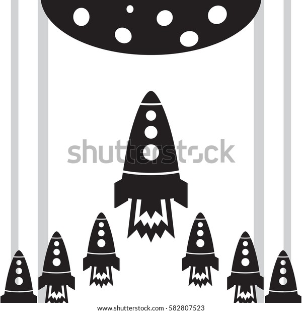 Start up with rocket and lines black planet on the white background