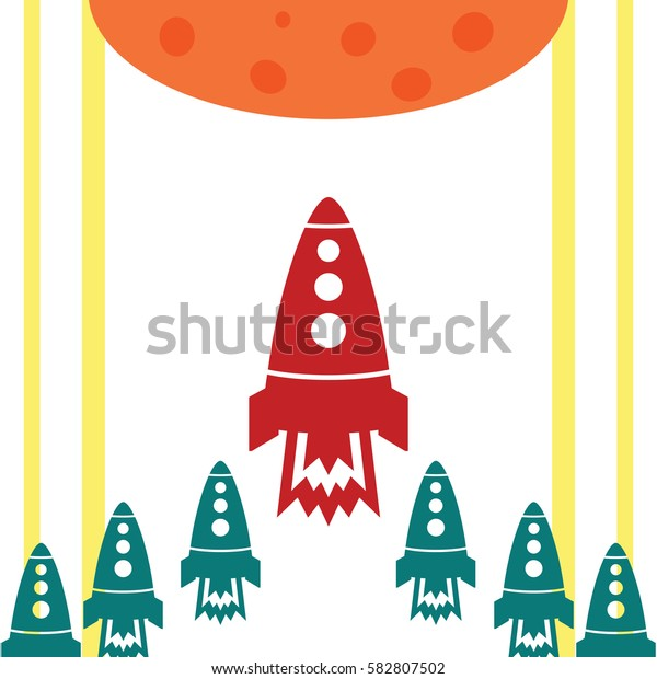 Start up with rocket and lines yellow planet on the white background