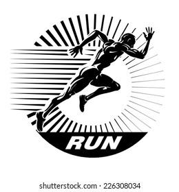 Start running. Vector illustration in the engraving style