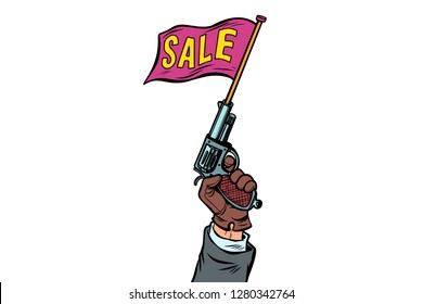 start of sale, starter pistol. isolate on white background. Comic cartoon pop art retro vector illustration drawing