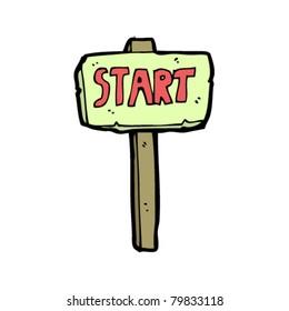 start sign cartoon