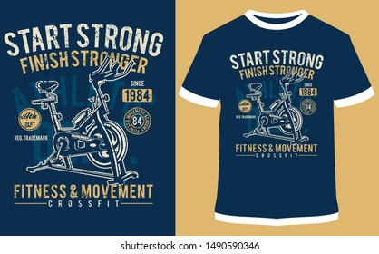 Start Strong Finish Stronger - Fitness & Crossfit Bodybuilding - Vector Graphics, For Sticker Or Printing For The T-shirt and Poster