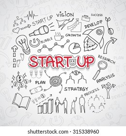 Start up text, With creative drawing charts and graphs business success strategy plan idea, Inspiration concept modern design template workflow layout, diagram, step up options, Vector illustration