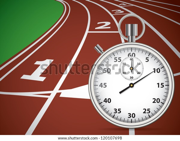 Start Track Stopwatch Lines On Red Stock Vector (Royalty