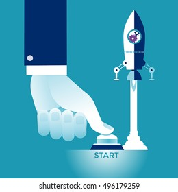Start Up. Businessman pushing the start button. Concept business vector illustration