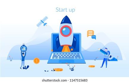 Start Up, Concept for web page, banner, presentation, social media, documents, cards, posters. Vector illustrationTeam working on spaceship launch startup, business people working