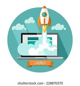 Empieza. Diseño plano, concepto moderno de ilustración vectorial del nuevo proyecto de negocio de desarrollo estrella y lanzar un nuevo producto de innovación en un mercado.