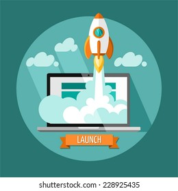 Empieza.Diseño plano, concepto moderno de ilustración vectorial de nuevo desarrollo de proyectos de negocio y lanzamiento de un nuevo producto de innovación en un mercado.