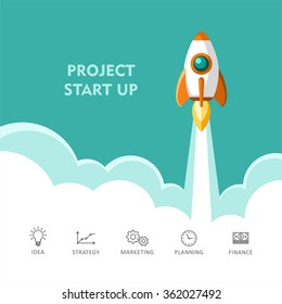 Start Up. Rocket ship. Flat design modern vector illustration concept of new business project start up development and launch a new innovation product on a market.