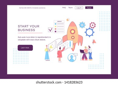 Start your own business - entrepreneur success rocket launch concept for landing page or web interface. Modern technology development and people with ideas - flat hand drawn vector illustration