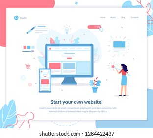 Start your own website. Web banner design template. Website builder concept. Flat vector illustration.