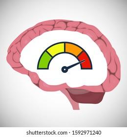 Starting the brain. The power of the brain. Brain speed. Vector illustration. Vector.