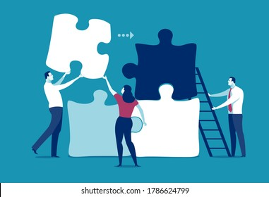 Starting a business. A group of office workers working together to assemble a jigsaw puzzle, metaphorical representation of business. Vector  illustration