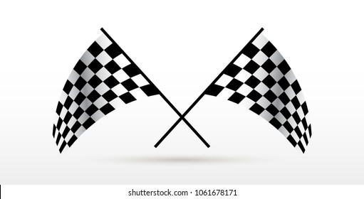 Starting and finishing flags. Auto Moto racing. Checkered flag.