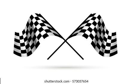 Starting flags. Auto racing. Motor Racing.
