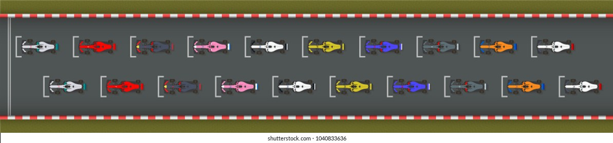 Starting Grid Formation of Race Cars