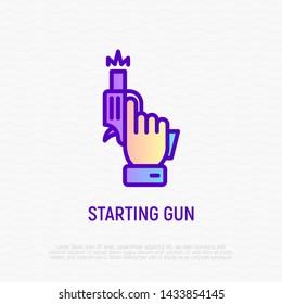 Starting gun: pistol in hand shots. Modern vector illustration of sport competition beginning.