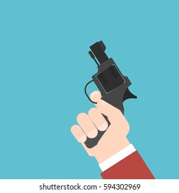 starting pistol is ready to fire. Flat vector illustration