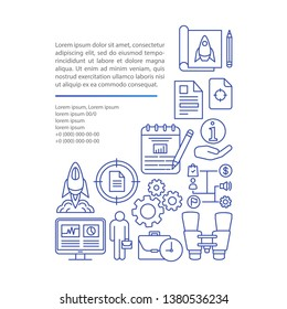 Startup article page vector template. Pilot project launch. MVP. Brochure, magazine, booklet design element with linear icons and text boxes. Print design. Concept illustrations with text space