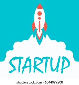 Startup background. rocket with cloud for web design