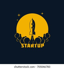 Startup banner - rocket with moon background, spaceship start-up sign, vector template