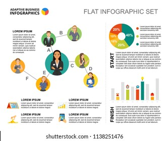 Startup bar and pie charts template for presentation. Business data visualization. Leadership, structure, analytics, training or marketing creative concept for infographic, report, project layout.