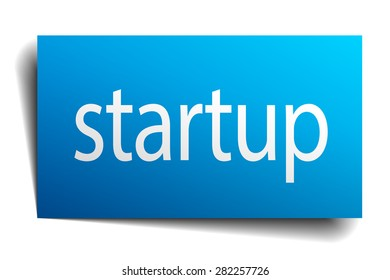 startup blue paper sign on white background