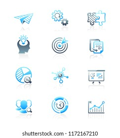 Startup business blue icons from idea to IPO