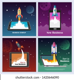 Startup Business concept with flying rocket. Business banner template set. Development and advanced project. Vector illustration.