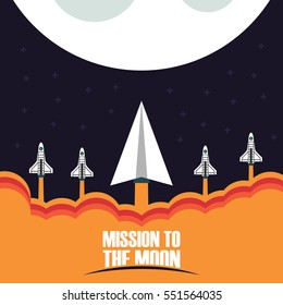 startup business concept, paper plane launch with rocket fly to the moon
