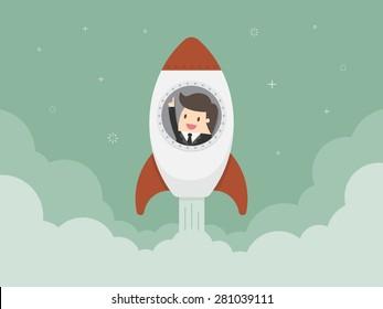 Startup Business. Flat design illustration. Businessman on a rocket
