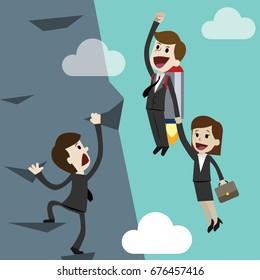 Startup business, flat design illustration. Businessman and businesswoman on a rocket. Team work