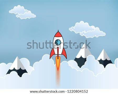 Startup Business Ideas Rocket Flies Sky Stock Vector Royalty Free