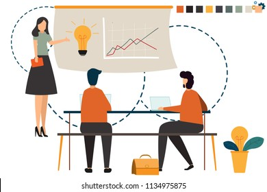 Startup business people group working everyday job at coworking office space. business character concept vector illustration.